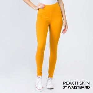 "NWT Mustard Peach Skin Leggings with 3"" Waistband"